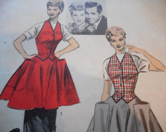 Vintage 1950's Advance 6557 Lucille Ball Collector's Weskit and Apron Sewing Pattern, Size 12 Bust 30