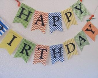 Boy Birthday Decorations, Birthday Banner, Boys 1st Birthday, Boy Birthday, Chevron and Polka Dot Birthday Decorations,