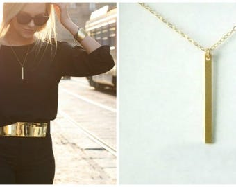 Simple Modern Vertical Bar Necklace in Gold Fill. Modern, Simple, Classic