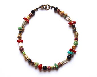 Mens Red Coral and Turquoise Beaded Anklet 10 1/4 Inches