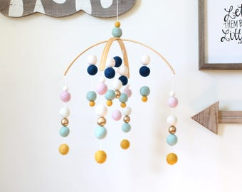 Felt Ball Mobile, Baby Mobile, Crib Mobile, Nursery Cot Mobile, Pom Pom Mobile, Nursery Mobile, Blue White Pink Yellow, Gender Neutral