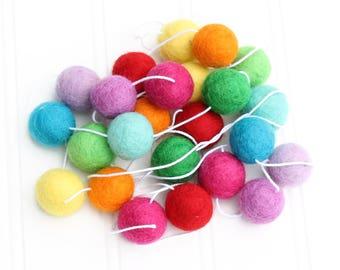 Felt Ball Garland: RAINBOW BRITE, Pom Pom Garland, Nursery Decor, Custom felt Ball Garland, Birthday Party Decor, Playroom Garland