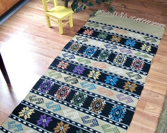 Vintage Mexican Rug, Woven Wool Rug, Table Runner, Southwestern Rug, Vintage Wool Runner, Green Rug, Southwestern Decor, Vintage Wool Runner
