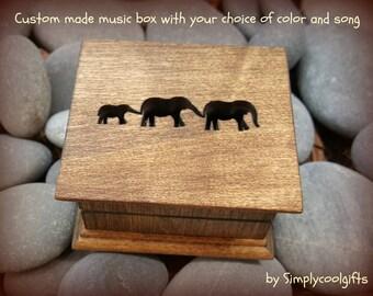 music box, wooden music box, custom made music box, elephant music box, personalized music box, valentine's day gift, first christmas