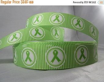 "Awareness Ribbon, Green Awareness ribbon, 7/8"" Ribbon, Grosgrain Ribbon, RN17033"