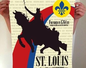St Louis Arch and Statue Print, STL, St louis, Fleur De Lis, St Louis Missouri