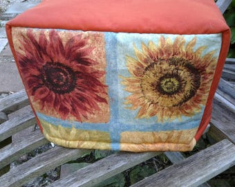 Sunflowers Toaster Cover Rust Blue Yellow Quilted Lined