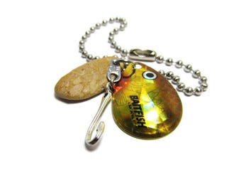 Fishing Lure Keychain, Men's Gift, Lake Michigan, Stone Key Chain, Shoreline Designed, Baitfish, Stainless Steel, Pebble Key Chain, Fish