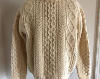 Vintage 60's Ivory Worsted Wool Cable Knit Fisherman's Sweater Men's L XL