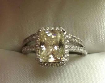 Reserved- First Payment Pale Canary Radiant Cut Engagement Ring Set