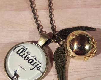 Next day ship- Harry Potter After all this time stag golden snitch necklace golden snitch charm necklace patronos charm lilly potter snape