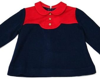 Vintage 60s Red and Navy Children's Top  | 1-2 Years