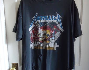 Vintage 90s METALLICA DESTROYED Trashed All Cotton T Shirt sz L/XL