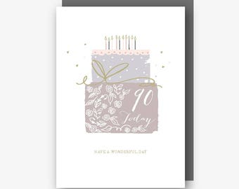 90th Birthday Card - 90 Today - Have a Wonderful Day - With Gold Foil Finishing