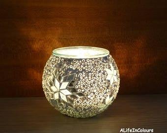 Handmade unique white colour glass mosaic candle holder, pencil holder, little mosaic vase.