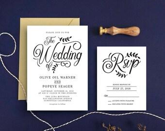 Calligraphy Wedding Invitation & RSVP Card - Kraft Paper Invitation - Calligraphy Invitation Wedding Invitation Printable