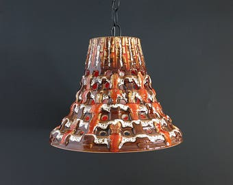 Mid Century Lighting - Maurice Chalvignac Orange Drip Pendant Light - Ceramic Drip Glaze Hanging Swag Lamp, Quebec Pottery, Canadian Pottery