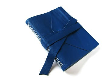 Large Blank Leather Journal in Cobalt Blue with Double Wrap Tie, Sketchbook, Guest Book