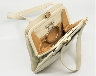 Vintage Lou Taylor Handbag Creamy Ivory Off White Leather with Flip Mirror and Change Purse