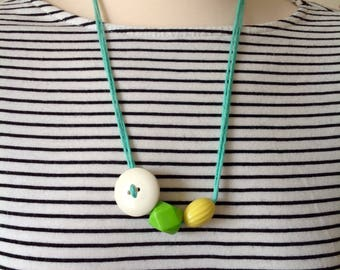 Chunky Geo Necklace, Button and Bead Multistrand Necklace in Turquoise, Cream, Bright Green and Yellow, Statement Necklace
