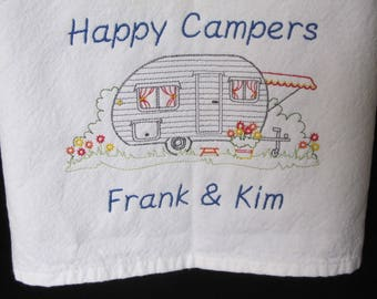 Camping Tea Towels - Embroidered