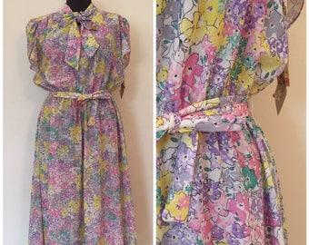 Vintage NOS Floral Dress / Large/XL / Pussy Bow Dress