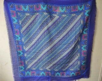 Vintage 1960s acrylic scarf Glentex diagonal stripes purple and blues 30 x 30 inches