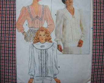 vintage 1980s Butterick sewing pattern 4274 Misses blouse size 10