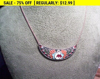 Enamel peacock pendant necklace, hippie, boho