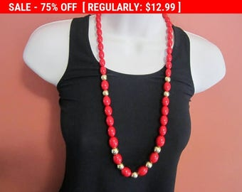 SALE Red bead necklace, hippie, boho, estate jewelry