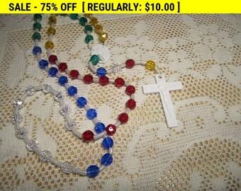 Vintage colorful plastic rosary