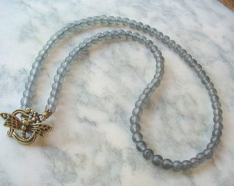 Gray Beaded Necklace, Black Frosted Glass Beads, Eyeglass Holder, Necklace, Weddings, Dragon Fly, Antique Brass, Sunglasses, Gift for Her
