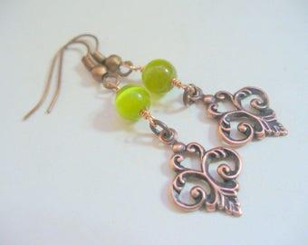 Green Tigerseye Earrings, Beaded Earring, Jewelry, Antique Brass Earring, Gift For Her, Irish, Long Dangle Earrings, Weddings