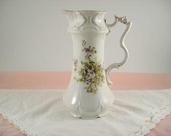 Shabby Chocolate Pot Teapot Vase Victoria Carlsbad Austria Purple Violets Shabby Cottage Chic Vintage