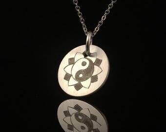 Ying Yang Mandala - Karma Coin - Silver Hand Engraved Pendant