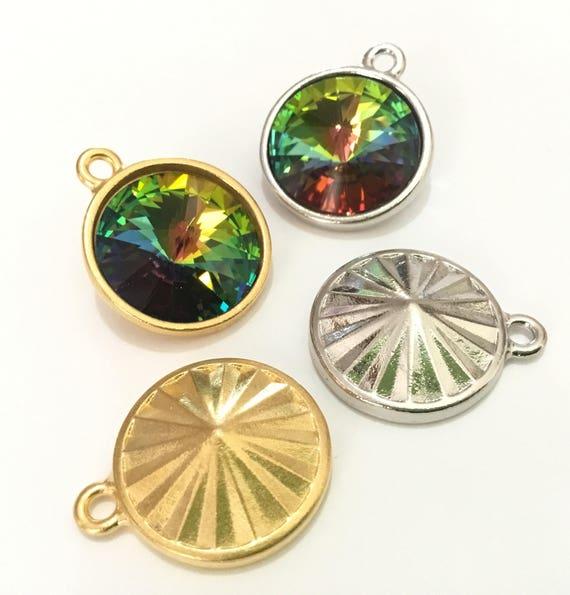 Gold or Silver plate drop Chain Pendant Focal Charm w/ Vintage Vitrail Medium Swarovski Crystal Rivoli gem 18mm Rhinestone Round Ladies Gift