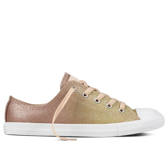 Gold Converse Dainty low top Slip on Glitter Beige Chuck Taylor Canvas Custom w/ Swarovski Rhinestones Crystal Ombre All Star Sneakers Shoes