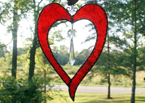 Stained Glass Heart with Crystal Suncatcher