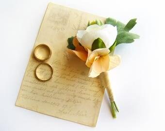Wedding Boutonniere Groom's Flower White Ranunculus Peach Wedding Flowers Men's Boutonniere Groomsmen Lapel Pin, Buttonhole Romantic Wedding