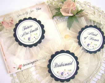 Future Mrs Pin, Bride to Be, Navy Blue Bachelorette Party Pins, Bride Badge, Custom Name Titles, Bridal Shower Pin, Bride Pin Hen Party Pins