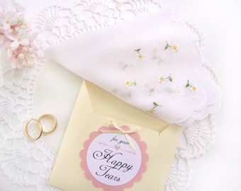 Wedding Handkerchief, Gift for Bride, Happy Tears, Vintage Handkerchief, Bride's Hanky Something Old, Bridal Shower Gift, Wedding Hanky