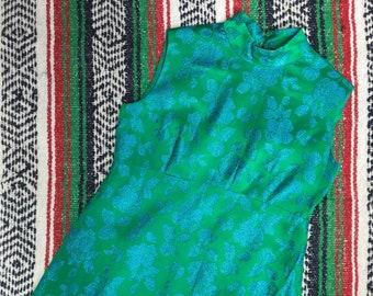 Vintage Green & Blue Empire Line Evening Dress