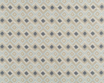 Indigo Blue Upholstery Fabric - Light Blue Woven Ikat for Modern Furniture Upholstery - Taupe Ikat Upholstery Fabric - Modern Blue Pillows