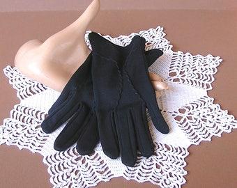 Vintage Nylon Gloves in Black by Bemberg Made in U.S.A. . 60s Gloves