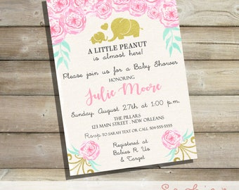 Pink and Teal Watercolor Baby Shower Invitation, A Little Peanut is Almost Here, Gold Foil, Baby Sprinkle, Floral Watercolor Invitations