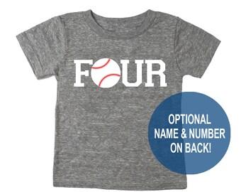 Four Baseball Tri Blend Toddler Fourth Birthday T-Shirt - Toddler Boy and Girl Tee