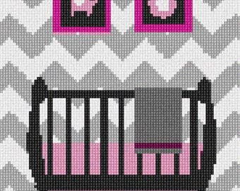 Needlepoint Kit or Canvas: Grey Chevron Baby Girl Crib