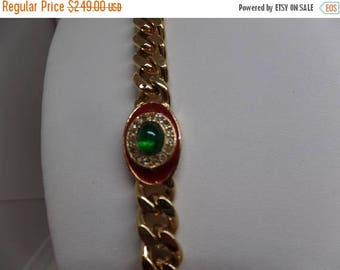 ON SALE CINER Signed Vintage Red Enamel and Green Cabochon Long Mogul Necklace