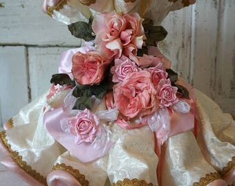 Victorian lampshade shabby cottage chic cream fabric pink roses lg bell shaped lamp shade ornate embellished lighting anita spero design