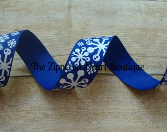 Dark Blue with Glitter Snowflakes 7/8 Inch Grosgrain Ribbon